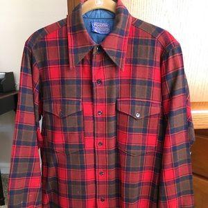 Men's Pendleton Red Plaid Shirt SZ 14 1/2